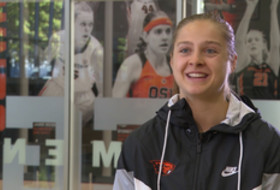 Oregon State's Mikayla Pivec discusses developing her leadership style, community service efforts
