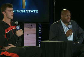 Oregon State coach Craig Robinson and Angus Brandt at Pac-12 Media Day
