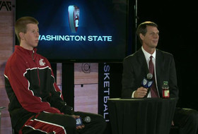 Washington State coach Ken Bone and Brock Motum at Pac-12 Media Day