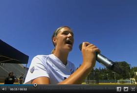 Cal's Grace Leer sings the National Anthem