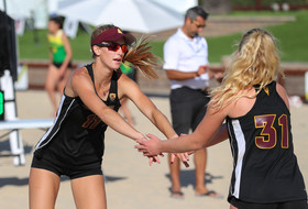 Arizona State's Katie Cross and Cierra Flood at the Pac-12 Beach Volleyball Championship