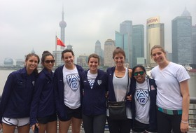 <p>Members of the Pac-12 women's volleyball all-star team stand shoulder-to-shoulder Tuesday after arriving in Shanghai.</p>