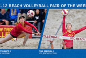 USC duo of Abril Bustamante and Tina Graudina named Pac-12 Beach Volleyball Pair of the Week for the second time this season.