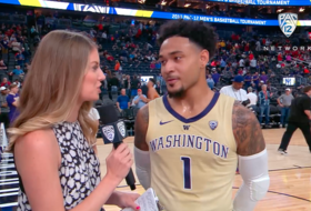 2019 Pac-12 Men's Basketball Tournament: UW's David Crisp on the close win over USC: 'We're gritty'