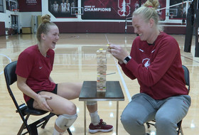 Stanford stars Jenna Gray, Kathryn Plummer square off in game of Truth or Dare Jenga