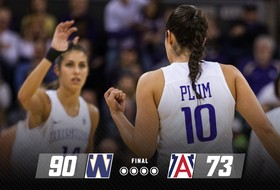 Plum Tops 3,000 Career Points, Huskies Beat Wildcats