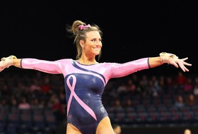 GymCats Impress on Bars, Floor at Home for Think Pink Meet